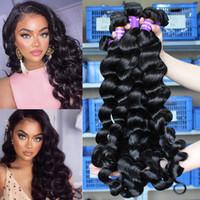 распущенные девственные волосы оптовых-Loose Deep Wave 3 Связки Перуанские Пучки Волос Необработанные Перуанские Девственные Волосы