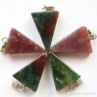 triángulo indio colgante al por mayor-10pcs 24x14x5mm elegante infrecuente indio ágata triángulo colgante para collares