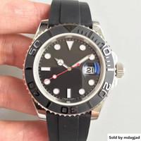 caja de gafas de goma al por mayor-Diseñador WatchesYacht Watch 116655 Serie 40 mm Cerámica Classic Silver Case Sapphire Glass Quality Movimiento mecánico automático Correa de caucho