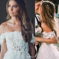 Wholesale line tulle short wedding dresses bride resale online - New Cheap Country Bohomian A Line Wedding Dresses Off Shoulder Appliques Lace Flowers Short Sleeves Tulle vestido Boho Formal Bride Gowns