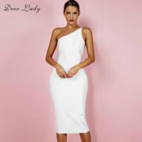 beyaz vücut kemeri bandaj toptan satış-Geyik Lady Kadınlar Bandaj Elbise 2018 Yaz Bir Omuz Seksi Bandaj Elbise Midi Siyah Backless Bodycon Beyaz XL
