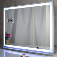 Wholesale mirrored stands resale online - Hollywood led Vanity Light Mirror dressing room table stand cosmetic makeup mirror with daylight and warm lights strips