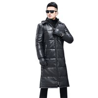Winter Men Down Jacket Large size Sheepskin Coat 2019 New Genuine leather down Jacket Medium long Slim Hooded Men Outerwear FC35