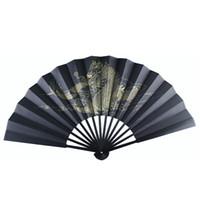antike faltende fans großhandel-Große antike Drachen schwarzer Seide Hand Fan chinesischen Faltfächer Mann traditionelle Handwerk Geschenk Fan