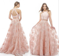 Wholesale art nude girl back resale online - Modern Blush Lace Evening Prom Dresses Long Affordable Price Two Pieces Lace Halter Long Homecoming Party Dress For Girls Prom