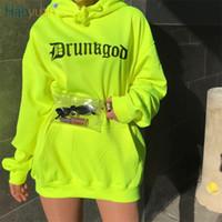 camisolas de grandes dimensões venda por atacado-HAOYUAN Neon Verde Carta Solta Carta de Impressão Moletom Com Capuz Streetwear Longa de Grandes Dimensões Com Capuz Primavera Harajuku Pullover Hoodies Mulheres
