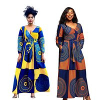 nuevos estilos de vestidos africanos al por mayor-Ropa africana tradicional Rushed Nueva Africaine 2019 Estilo atractivo de la manera Otoño mujeres africanas más el tamaño de vestido largo