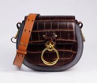 Wholesale leather genuine bag sale for sale - Designer Tess Saddle Bag New Hot Sale Women Genuine Leather Crossbody Shoulder Saddle Purse Bracelet Handbag Croco Embossed For Women