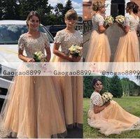 modestos vestidos de novia de colores al por mayor-2019 Maid secundaria Modest vestidos de dama de boda colorido Una línea de encaje de tul fruncido más el tamaño de encargo 2019 de Boho hecho de honor Vestidos