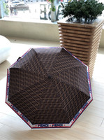 marka f toptan satış-Kahverengi Tam F Mektup Şemsiye Classics Marka Baskı Erkekler Ve Kadınlar Için Yüksek Kalite Şemsiye Otomatik Katlanır Şemsiye