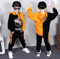 yıl boyu kostümü toptan satış-3-14 Yıl Çocuklar için 2 parça Elbise Takım Elbise Çocuk Pamuk Giyim hiphop Streetwear Dans Seti Spor Erkek Kız Kostümleri