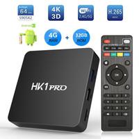 Wholesale android 4.4 hdmi tv box online - 4GB DDR4 Android TV Box HK1 Pro TVbox G G Amlogic S905X2 Quad Core Smart Mini PC G G Wifi Bluetooth HS K Set Top Boxes