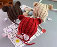 Wholesale crochet flap hat for sale - Group buy Fashion Kids Baby Hat Winter Boy Warm Earflap Beanies Hats For Girl Knit Ribbed Handmade Ear Flaps Cap Skullies Solid Bonnet ZFJ752