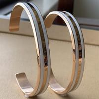 weißgold armband graviert großhandel-4 teile / los neue breite dw armbänder manschette mit weißen streifen 100% titanium stahl gravierte logo buchstaben armband für frauen männer geschenk