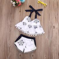 tanques bonitos da criança venda por atacado-Atacado-Toddler bebê meninas roupas regata T-shirt sem mangas Shorts Belt Infantil Cute Baby Girl Clothing 2pcs Outfit Set