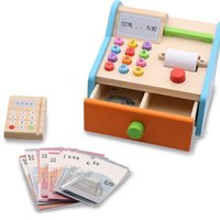 Wholesale toys shopping games for sale - Group buy Wood toy Play house Shopping toys Funny Kids cashier cash register cashier Role play cash register game DIY children toys gifts