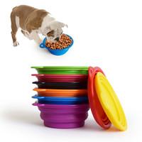 plato plegable para mascotas al por mayor-Plegable de silicona plegable tazón cachorro de alimentación para mascotas perro tazón de viaje agua plato alimentador plegable exterior 1000PCS AAA2096