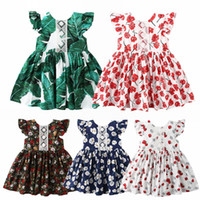 chaleco de la mosca al por mayor-Vieeoease Girls Dress Floral Kids Clothing 2019 Summer Fashion Fly Sleeve Vest Lace Princess Dress CC-182
