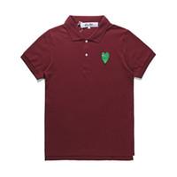 плюс размер зеленый рубашка-поло оптовых-2019 Новая мода COM оптом Лучшее качество красного вина Green Heart DES GARCONS PLAY Черная футболка поло Размер M Сделано в Японии Junya Homme Plus