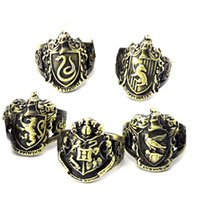 Wholesale toys play for sale - Group buy 5 Pieces Set Harry Academy Badge Alloy Ring Toys Retro Styles Potter Movie Role Playing Props Ring And Box L366