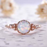 Wholesale vintage womens gold ring for sale - Group buy Moonstone Rings Silver K Rose Gold Bright Filled White Fire Womens Love you Gift Thin Leaf Flower Jewelry For Vintage Party Engagement