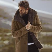 pecho caliente y grueso al por mayor-Abrigos gruesos de la chaqueta del diseñador del invierno Ropa para hombre Cachemira caliente Un solo pecho Abrigos calientes Outwear Cazadora