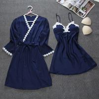 ingrosso abiti donna pigiama-2018 Summer Robe Sets Womens 2PC Strap Top Sleepwear Casual Pigiama Home Wear Nightwear Kimono Sexy Bath Gown M-XXL