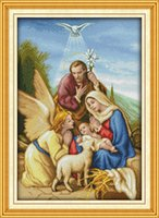 el işi iğne çapraz dikiş seti sayılır toptan satış-Melek iniş İsa Hıristiyan ev dekor boyama, El Yapımı Çapraz Dikiş Nakış İğne setleri tuval üzerine baskı sayılan DMC 14CT / 11CT