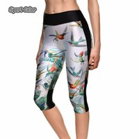 Wholesale hottest girl yoga pants for sale - Birds Design High Waist Women Mid Calf Leggings Sexy Girls Fitness Yoga Cropped Trousers Lady New Hot Elastic Breathable Capris