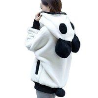 ingrosso cappotti carino delle donne-Cute Bear Ear Panda Inverno cappotto caldo con cappuccio cappotto peluche manica lunga casual donne giacca con cappuccio tuta sportiva JLY0827