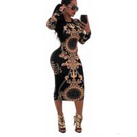 siyah uzun kollu batwing mini elbisesi toptan satış-Kadınlar Casual O-Boyun Baskı Uzun Kollu Bodycon Parti Uzun Elbise Bayanlar Seksi Çizgili Clubwear Elbiseler