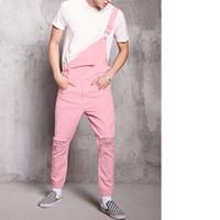 jeans rose hommes achat en gros de-Jeans déchirés MJARTORIA 2019 New Pink Mode Hommes Jeans Combinaisons Salut Street Distressed Denim Bavoir Salopette Pour Homme Jarretelles Pantalon