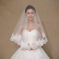 Wholesale girls white veils for sale - Group buy In Stock One Layered Lace Tulle Short Bridal Veils Cheap Girls Wedding Accessories Veil Lace White Ivory