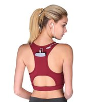 b069ac5c24 Wholesale compression sports bra online - High Elastic Sports Bras  Compression Tops with Phone Pocket Racerback