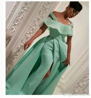 kapalı omuz nane yeşil elbise toptan satış-Afrika Nane Yeşil Abiye Kapalı Omuz Boncuk Kılıf Örgün Elbiseler Akşam Aşınma Saten Arapça Özel Durum Elbise Vestidos