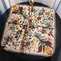 ingrosso fazzoletto da collo oro-Sciarpa con stampa floreale firmata YanChou da donna Sciarpa firmata per donna Foulard Femme Joker Sciarpe quadrate dorate 70 cm