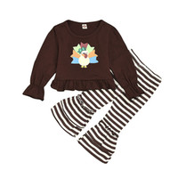 Wholesale chicken clothing for sale - Group buy Thanksgiving Girls Clothing Set Long Flare Sleeves Cartoon Chicken Printed Top Striped Flare Pants set Outfits Autumn M417