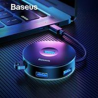 macbook pro için sabit disk toptan satış-Baseus Çok USB 3.0 / Tip C HUB USB3.0 + 3 USB2.0 Macbook Pro HUB Adaptörü için Huawei P20 Bilgisayar Sabit Disk için aksesuar