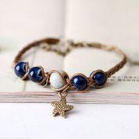 Wholesale love braided bracelet online - men bracelet pure hand restore ancient ways forest fastens bracelet braid ceramic star bracelet Valentine day gifts