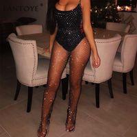 diamante suelto al por mayor-Fantoye Crystal Diamond Mesh Women Sexy Summer Hollow Out Transparente Loose Long Fishnet Pantalones Nueva ropa de playa Pantalones Q190516