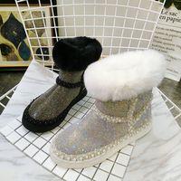 koyun derisi yün biri toptan satış-bayanlar kış botları süper tilki kürkü kadın koyun derisi yün bir kar botları yeni sığır derisi çizmeler