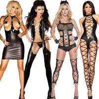 kadın kedi tulum kıyafeti toptan satış-TaFiY Cadılar Bayramı Kadınlar Siyah Seksi Jumpsuit Hallow Çıkan Sahte Deri Kulübü Kostümler Wear Giyim Catsuit Kedi Seksi Kostümler Suits
