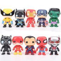 marvel superhéroes figuras de acción al por mayor-FUNKO POP 10 unids / set DC Justice Figuras de acción Liga Marvel Avengers Superhéroe Personajes Modelo Capitán Acción Figuras de juguete para niños