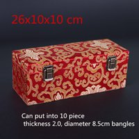 Wholesale wooden boxes resale online - High End Rectangle Slots Box for Bangle Bracelet Storage Box Wooden Packaging Chinese Silk Brocade Jewelry Collection Box