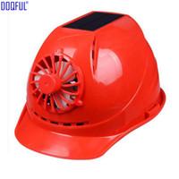 Wholesale hard head helmets resale online - Solar Panel Fan ABS Crash Hard Helmet Li Battery Indoor Outdoor Work Safety Bump Cap Casco De Seguridad Sunscreen Hat Breathable Head Safe