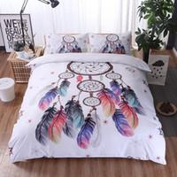roupa de cama de roupa de cama 3d venda por atacado-Luxo Conjunto Padrão de Cama de Penas Capa de Edredão 3D de Ouro Mandala Boho Lençóis de Penas Padrão 3 pcs King Queen Quilt Conjunto Capa