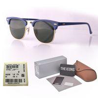 hochwertige brillengestell großhandel-Qualitäts-Marken-Entwurfssonnenbrillemannfrauen-Plankenrahmen Metallscharnier Spiegelglasobjektiv Katzenauge-Sonnenbrille mit freiem Kleinkasten und Aufkleber