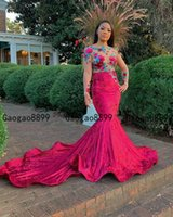 Wholesale robe soiree peplum for sale - Group buy 2019 african mermaid Prom Dresses with colorful Lace Applique sheer long Sleeve sequined Evening Dress Robe De Soiree Party Gowns