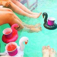 şişme beyaz toptan satış-Siyah Beyaz Kuğu Şişme Bardak Tutucu Yaz Havuz Yüzen Şişme İçecek Tutucu Plaj Yüzme Banyo Çocuklar Oynamak Banyo Oyuncak DS0528 T03
