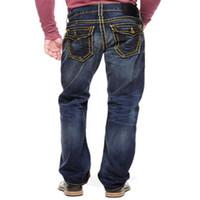 pantalones delgados de lujo para hombre al por mayor-Verdaderos jeans de diseño para hombre Pantalones pitillo desgastados desgastados Ropa de lujo Motocicleta delgada Moto Biker Hip Hop Denim hombres RELIGIONING